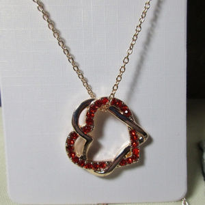 Jewelry - Rose gold red CZ double heart pendant necklace 283